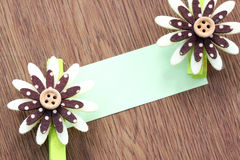 Hairpins of brown pattern and note paper. Stock Images