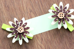 Hairpins of brown pattern and note paper. Stock Photography