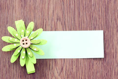 Hairpins of green flower pattern and note paper. Stock Images