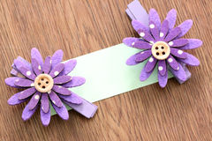 Hairpins of purple flower and note paper. Stock Image