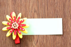 Hairpins of red mix yellow pattern and note paper. Royalty Free Stock Images