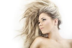 Hairs girl. Portrait of a styled professional model. Theme: healthcare, beauty, fashion Royalty Free Stock Images