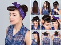 Hairstyle για το μακρυμάλλες αναδρομικό σεμινάριο κουλουριών στοκ εικόνα με δικαίωμα ελεύθερης χρήσης