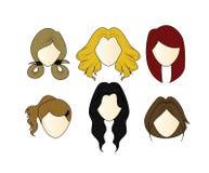 Hairstyle του διανυσματικού καθορισμένου κοριτσιού Στοκ εικόνα με δικαίωμα ελεύθερης χρήσης