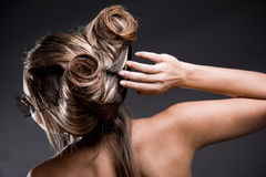 Hairstyle. Female halloween hairstyle back view Stock Images