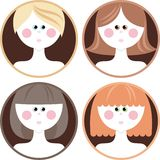 Hairstyle. Four girls with different hair styles Stock Photo