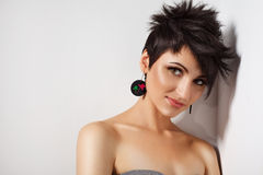 Hairstyle. Portrait of beautiful sensual woman with elegant hairstyle Royalty Free Stock Image