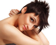 Hairstyle. Woman with nice hairstyle isolated on white Royalty Free Stock Photos