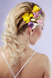 Hairstyle. Rear view of a bride with curly wedding hairstyle Royalty Free Stock Image