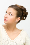 Hairstyle. Young woman on gray with hairstyle Stock Photo