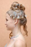 Hairstyle. Of young pretty lady Stock Photos