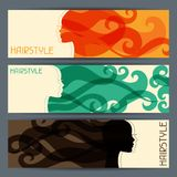Hairstyle abstract horizontal banners set Royalty Free Stock Photography