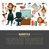 Hairstyle advertisement banner with stylist and work equipment. Woman in apron, special brushes, powerful hair dryer, big mirror, soft chair, color samples and Royalty Free Stock Image