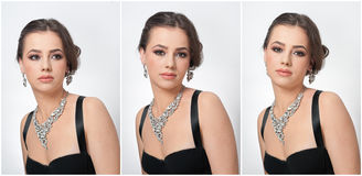 Free Hairstyle And Make Up - Beautiful Female Art Portrait With Beautiful Eyes. Elegance. Genuine Natural Brunette With Jewelry Royalty Free Stock Photography - 50897887