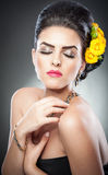 Hairstyle And Make Up - Beautiful Female Art Portrait With Yellow Roses Stock Image