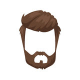 Hairstyle beard and hair face cut mask flat cartoon vector. Royalty Free Stock Images