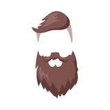 Hairstyle beard and hair face cut mask flat cartoon vector. Royalty Free Stock Photography