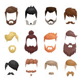 Hairstyle beard and hair face cut mask flat cartoon vector. Hairstyle beard and hair face cut mask flat cartoon. Vector mail illustration flat fashion style stock illustration