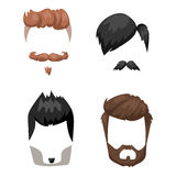 Hairstyle beard and hair face cut mask flat cartoon vector. Royalty Free Stock Photo