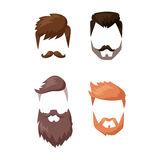 Hairstyle beard and hair face cut mask flat cartoon vector. Hairstyle beard and hair face cut mask flat cartoon. Vector mail illustration flat fashion style royalty free illustration