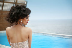 Hairstyle. Beautiful glamour gorgeous woman model with diamond j Stock Image