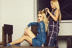Hairstyle, beautiful two blonde sexy girls stock image