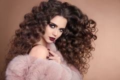 Free Hairstyle. Beauty Hair. Fashion Brunette Girl With Long Curly Ha Stock Photography - 102693282