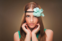 Hairstyle. Beauty Sexy Model Girl Portrait with Perfect Makeup and Manicure. Stock Images