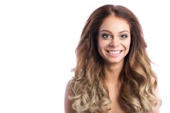 Hairstyle. Beauty Woman With Long Curly Hair. Stock Photos