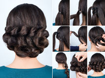 Hairstyle braid for long hair tutorial stock image