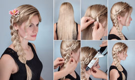Hairstyle braid with natural flowers tutorial stock photos