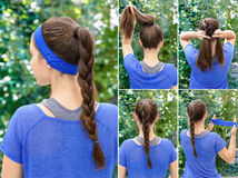 Hairstyle braid for sports stock photography