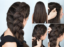 Hairstyle braid to one side tutorial stock images