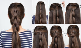 Hairstyle braid tutorial royalty free stock images
