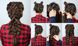 Hairstyle braid tutorial stock photo