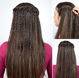 Hairstyle braided cascade tutorial. Step by step. Hairstyle for long hair Stock Photos