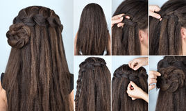 Hairstyle braided rose tutorial Stock Photography