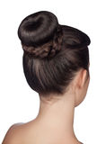 Hairstyle bun isolated on white background stock images