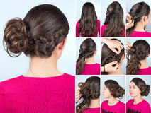 Hairstyle bun and plait on curly hair tutorial. Hairstyle twisted bun to one side and braid on curly hair. Hairstyle tutorial for long curly hair. Hairstyle for stock photography
