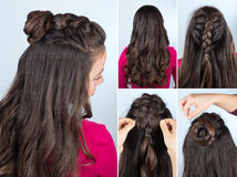 Hairstyle bun with plait tutorial. Modern hairstyle twisted bun and braid with curly loose hair. Hairstyle tutorial for long curly hair. Hairstyle for party stock image