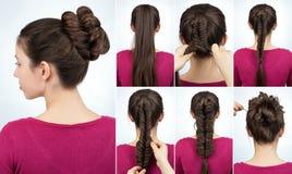 Hairstyle bun tutorial stock photography