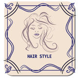 Hairstyle CARD FOR BEAUTY SALON IN VECTOR WITH BEAUTIFUL GIRL. COULD BE FOR BANNER, ICON Stock Images