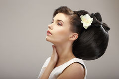 Hairstyle Contemporary Design. Sensual Woman with Creative Coiffure. Glamor Stock Images