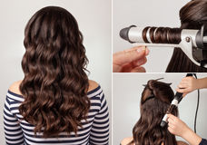 Hairstyle curly hair tutorial royalty free stock photos