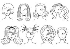 Hairstyle elements for salon with face.Vector silh Royalty Free Stock Photo