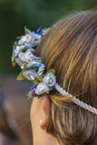 Hairstyle with floral decorations Royalty Free Stock Photo