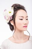 Hairstyle with flowers Royalty Free Stock Image