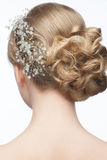 Hairstyle with hair accessory. Portrait of attractive young woman with beautiful hairstyle and stylish hair accessory, rear view Royalty Free Stock Image