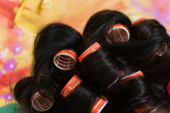 Hairstyle - hair rollers Royalty Free Stock Images