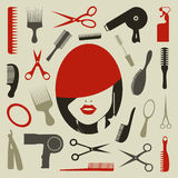 Hairstyle an icon Stock Images